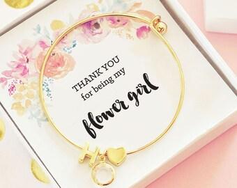 Monogram Flower Girl Bracelet, Flower Girl Gift Ideas, Jewelry,  Personalized Flower Girl Gift, Personalized Bracelet, Little Girl Bracelets