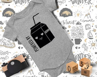 Baby Outfit/Powered By Milk Onesie/ Baby Onesie/ Funny Baby Onesie/ Baby Girl Onesie/ Baby Boy Clothes/ Baby Shower Gift/ Baby Bodysuit