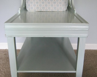 Vintage Aqua (Loweu0027s Tidewater)Whitewashed Tiered End Table/ Bedside Table  With Fretwork And