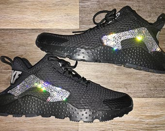 crystal Nike Air Huarache Run Ultra Bling Shoes with Swarovski Crystals Women's Running Shoes Black