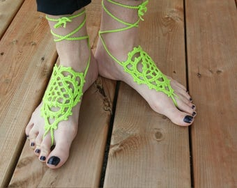 50% OFF - Crochet barefoot sandals - Key lime