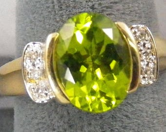 4.1 Carat Russian Peridot Ring, 14k Yellow Gold, 0.10 Diamond Accent, Vintage, Estate, Antique, Green, August, birthstone,
