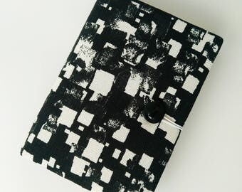 Black and White Textile Notebook, Sketchbook, Notepad, Custom Notebook