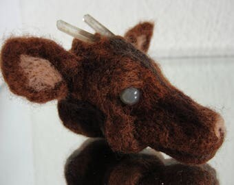 ALEXI ** Handmade one of a kind, 100% merino wool and polished stone, Bucks head with River Crystal Horns ** FREE SHIPPING