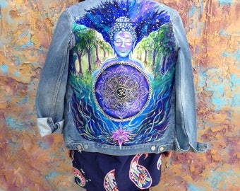 Buddha Namaste cosmos hand painted jacket