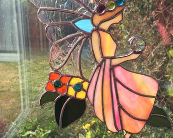 Stained glass Spring fairy with Swarovski crystal