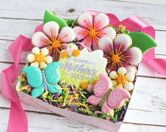 Mother's Day Spring Blossoms Sugar Cookies Set - Ready for Gift Giving - Flower Sugar Cookies, Mother's Day, Floral Cookies, Spring Cookies