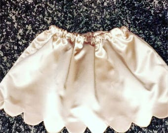Scalloped Satin-Like Skirt