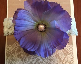 Vintage purple and blue flower headband with pearl accent