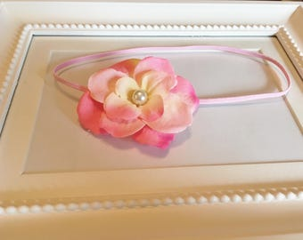 Delicate Pink & White Flower Headband with Pearl Center
