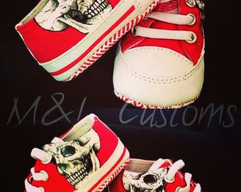 Hand painted skull baby soft sole shoes. UK size infant 2