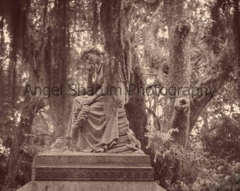 Sad Lady Thinking in Black and White Digital Photo-Digital Download-Photography-Lady-Lady Statue
