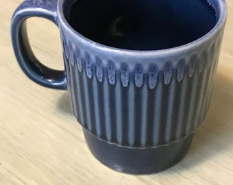 Vintage Blue Coffee Mug, Ribbed design, Ombre, Made in Japan