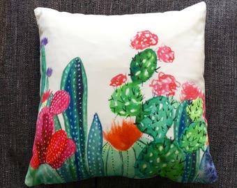 Bright Cactus Floral Cushion Cover, Pillow Cover, Decorative Cushion, Throw Pillow, 40cm