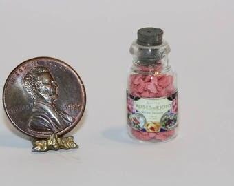"Dollhouse Miniature Glass Bottle of ""Vintage Look"" Parisian Bath Salts"