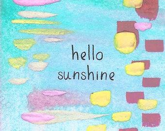 Hello Sunshine - 2x2 Original Mini Watercolor Painting