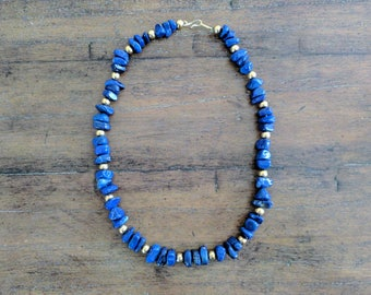 Lapis and Gold Bead Necklace