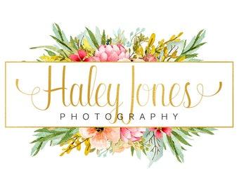 Floral watercolor logo design, photography logo, gold foil logo, floral logo design, watercolor flower, branding template, handwritten logo