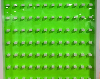 Minifigure Display Case - NEON GREEN - Holds 84 LEGO Minifigures - Optional Hinged Acrylic Front Door