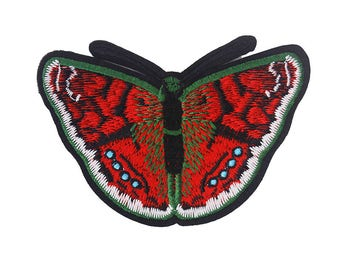5piece Red Butterfly Applique Embroidered Patch Decoration Sew On Patches Lace Fabric Clothing Sewing Accessories TH204
