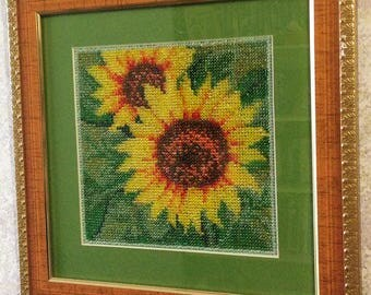 """Picture embroidered with beads """"Sunflowers."""""""