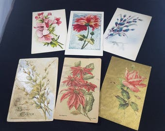 6 VINTAGE FLORAL POSTCARDS--free shipping in U.S.