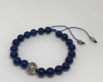Meditation Mala Bracelet, Strength Wrist Mala, Mantra Mala, Meditation Beads, Yoga bracelet, Gemstone Wrist Mala, 8mm beads, Silver