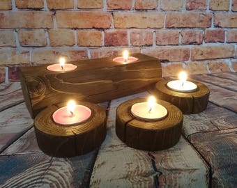 Recycled wood, Tea light candle holders
