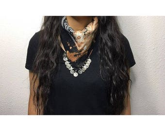 Black distressed bandana necklace