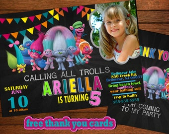 Trolls Invitation, Trolls  Birthday Invitation ,Trolls  Party Invitation,Trolls Invitations , DreamWorks, Poppy, FreeT hank You Cards
