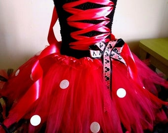 Minnie mouse red baby girl set tutu dress and hair bow birthday party photo prop outfit costume