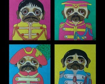 Limited Edition Beatle Pugs Giclee on Silk Prints