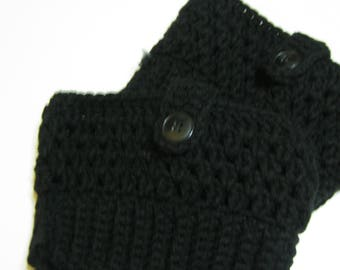 Hand Made Crochet Boot Cuffs Boot Toppers Leg Warmers Black