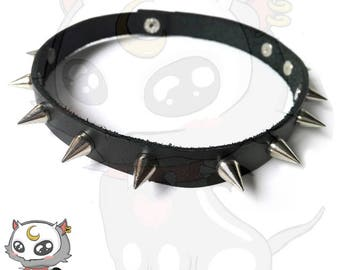 Leather Visual kei / Goth / Gothic / Punk / Rock Choker with spikes by Aizure