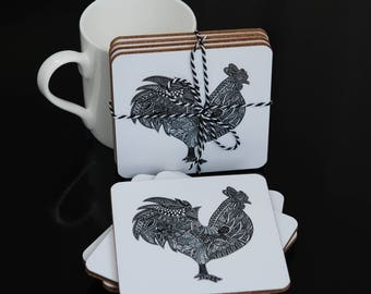Black and White Rooster Design Coasters