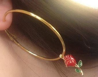 Gold hoop rose earrings