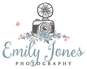 Watercolor Logo Design, Business Logo, Photography Logo, Photography Brand Package, Calligraphy Logo, Photo Camera Logo, Floral Watercolor