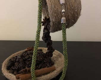 Handmade Necklace with Crochet Beads in green.