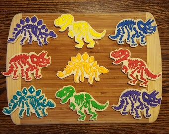 12 Dinosaur Fossil Cookies (1 Dozen) / Dinosaur Birthday / Dino Adventure Party / Multicolored Dinosaur Bones / Dino Dig Party