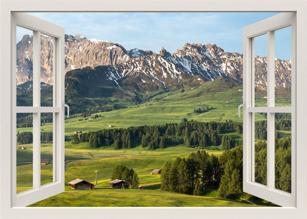 berge ansicht wandtattoo 3d fenster wandtattoo blick auf die. Black Bedroom Furniture Sets. Home Design Ideas