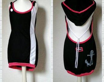 Backless dress hood anchor points mullet hooded dress sundress maritim Ahoy Vokuhilakleid button