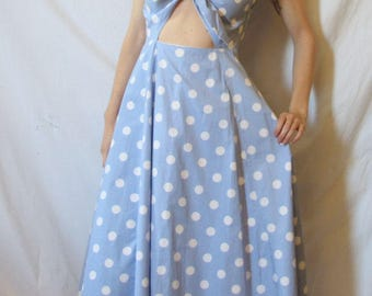 80s Style Baby Blue Dress, Bow Front XS S
