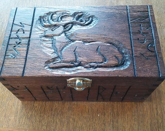 Stag Gothic Rune hand-carved box.
