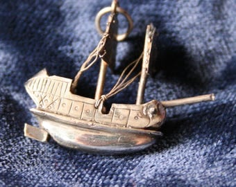 Miniature silver galleon ship charm, vintage