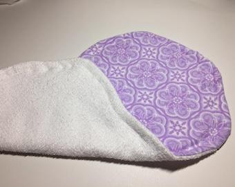 Baby burp cloth - Purple baby burp cloth -  Baby shower gift