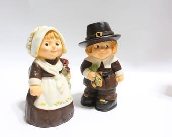 Vintage Hallmark Thanksgiving Pilgrim Salt And Pepper Shakers