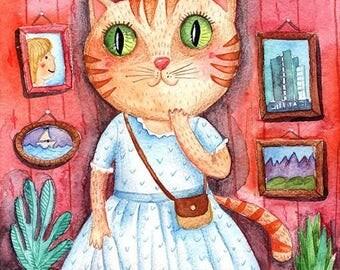 """Print """"Cat in the museum"""""""