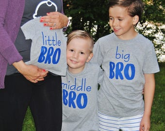 Big Middle Little Brother Bro Tee Shirt, Matching Siblings