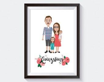 Custom Portrait | Digital Illustration | Family Illustration | Gift Idea | Wall Art | Personalized Print