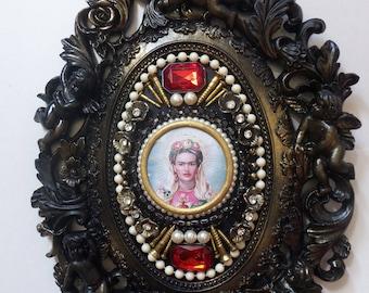 Frida Kahlo Assemblage - Framed hand decorated print... Fantastic present